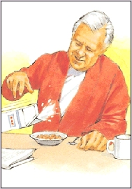 Image of a man pouring milk into a bowl of cereal. He is dropping the milk carton.
